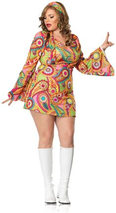 Hippie Chick Dress Plus Adult Costume,$39.99
