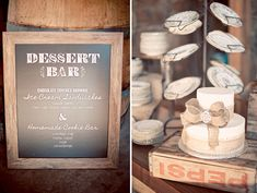 Country Western Wedding: Jamie + Scott. Jamie and her Mom traveled to 5 different flea markets in search for 250 vintage plates for the desert bar. They served homemade cookies and ice cream cookie sandwiches for dessert
