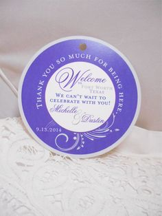 Wedding Hotel Gift tags 4 inch Round Purple Welcome tags for Bat Mitzvah, Destination and Weddings by idoartsyweddings on Etsy https://www.etsy.com/listing/200943665/wedding-hotel-gift-tags-4-inch-round