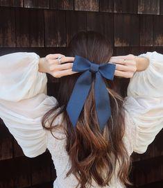 Brigitte Bardot Hair Bow Barrette (slim), Navy Blue Bow Barrette, Grosgrain Hair Bow, Velvet Hair Bow, Something Blue Brigitte Bardot, Bardot Hair, Velvet Hair, Blue Bow, Navy Blue, Barrette, Blue Hair, Hair Looks, Cute Hairstyles