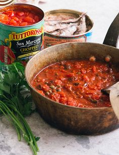 Puttanesca Puttanesca – Puttanesca is a quick and simple sauce that gets bold flavor from capers, olives and anchovies and our San Marzano Style Chopped Tomatoes in Puree with sea salt. Seafood Pasta Recipes, Pasta Sauce Recipes, Wine Recipes, Pasta Sauces, Yummy Recipes, Dinner Side Dishes, Dinner Sides, Main Dishes, Pasta Puttanesca