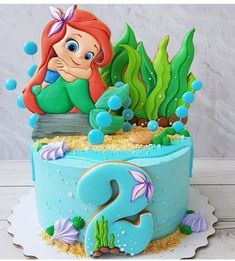 50 Most Beautiful looking Disneys Ariel Cake Design that you can make or get it made on the coming birthday. Toddler Birthday Cakes, Mermaid Birthday Cakes, Birthday Cake Girls, Birthday Cake Disney, Princess Birthday Cakes, 4th Birthday, Baby Cakes, Girl Cakes, Cupcake Cakes
