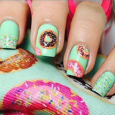 I Guess with an overwhelming Majority!😜 (Don't worry I think I'm gonna do All of them! So inspired by my 😘😘 Donut Socks! Trendy Nail Art, Cute Nail Art, Cute Nails, Pretty Nails, Bling Nails, Swag Nails, Crazy Nail Art, Crazy Nails, Beautiful Nail Designs