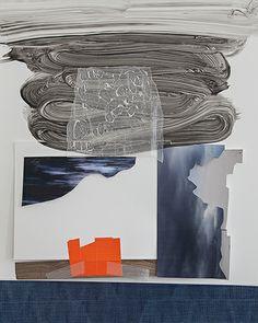 "Roxana Geffen ""Driving Sideways"" Acrylic, gouache, wax paper, tape, digital prints on Yupo 20"" x 26"" 2014"