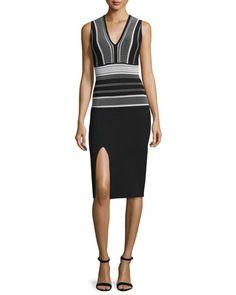 Sleeveless V-Neck Colorblock Sheath Dress by RVN at Neiman Marcus.