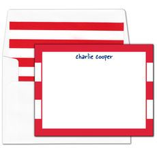 Red Stripe Border Flat Note Cards