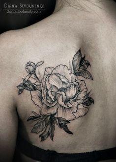 peony flower by diana severinenro #shoulder #back #tattoos