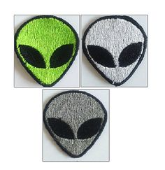 Retro Alien Patch Embroidered Alien Iron on by AlienFashionsUK