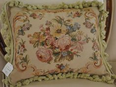 "16"" x 20"" French Country Style Handmade Petite Point Needlepoint Pillow"