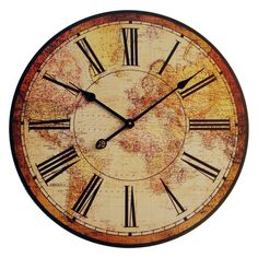 vinatge clock | Vintage Antique World Map Clock | HomeClocks.com