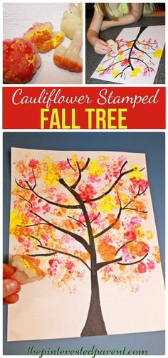 Cauliflower stamped Fall Tree . arts and craft project for the kids for the fall…