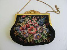 Vintage Black Floral Tapestry Handbag
