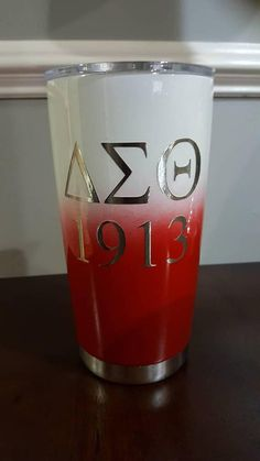 This Delta inspired cup is stainless steel and custom painted. Its designed to keep your beverages hot or cold for hours! Be sure to add the name you would like on the tumbler in the Buyers Notes Aka Sorority, Sorority Gifts, Delta Sigma Theta Apparel, Greek Gifts, Delta Girl, Omega Psi Phi, Fraternity, Custom Paint, Stainless Steel