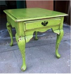 Love the lime green of this side table.  Pink and green are complements, which mean they love each other. ;)