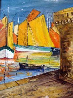 vieux gréements sur concarneau - Peinture,  6x41x33 cm ©2009 par André Kermorvant -                            Classicisme, huile de andre kermorvant vieux gréements sur concarneau