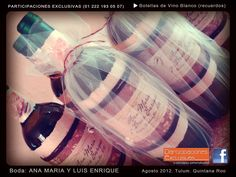 Botella de Vino personalizada para recuerdo de Boda con tema de Playa #recuerdosboda #invitaciones #bodaplaya
