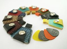 Guitar Pick Holder Keychain  Made of Recycled door couchguitarstraps maudjesstyling
