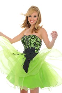 Neon green and also black homecoming dress