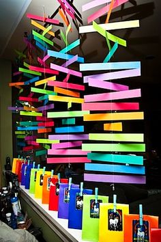 "Rainbow party with cool ""streamers""...you could have all the attendants write positive words or nice descriptive words of each kid there on the strips of paper"