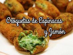 Croquetas de Espinacas, Jamón y Queso - YouTube Tortilla Rolls, Tortillas, Guacamole, Baked Potato, Diabetes, Snacks, Make It Yourself, Ethnic Recipes, Youtube
