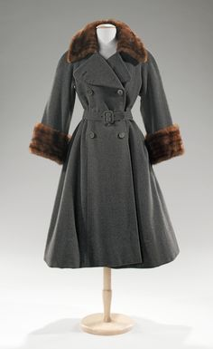 Norman Norell coats ca. 1955 via The Costume Institute of the Metropolitan Museum of Art    grey