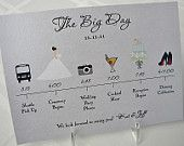 What a great idea of a wedding day itinerary! From http://www.etsy.com/shop/pixelstopaper#