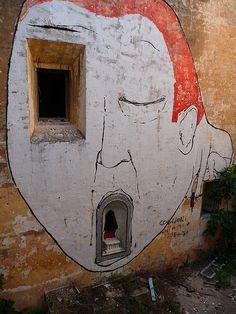 Vintage Street Art. Building Mural. BLU CLOSE