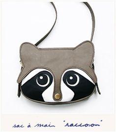 Raccoon bag / Leather bag / animal bag / Women Bags / Handmade / Leather Purse…