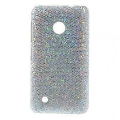 Mesh - Nokia Lumia 530 Hoesje - Back Case Hard Glitter Zilver Mesh, Phone Cases, Fishnet, Tulle