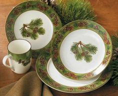 Pinecone Motif 16 Pc Ceramic Dinnerware Set  Collect the starter set and accessory pieces and gifts this holiday season!