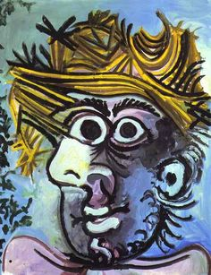 """Pablo Picasso - """"Human head with Straw Hat"""", 1971Pablo Picasso - More Pins Like This At FOSTERGINGER @ Pinterest"""