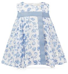 Baby Dior Newborn Porcelain Cotton Voile Dress with Roses
