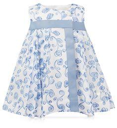 BABY DIOR - Aqua printed polka dot cotton muslin dress