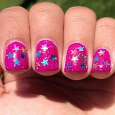 Bright pink nail art with metallic stars :: one1lady.com :: #nail #nails #nailart #manicure