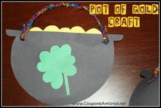 St. Patrick's Day Pot of Gold Craft.  This includes a printable template too!