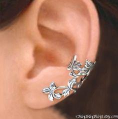 925. Spring Leaf - Sterling Silver ear cuff earrings, Non pierced earcuff jewelry 110412