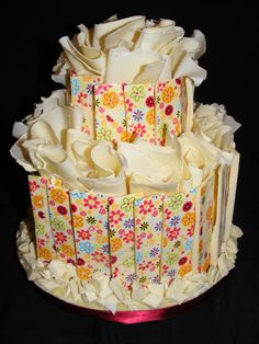 White chocolate ruffle wedding cake