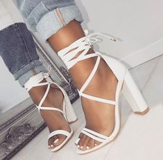41 For her Designer High Heels To Add To Your Wardrobe White Sandals Surprisingly Cute Street Style Shoes Cute Heels, Lace Up Heels, Pumps Heels, Stiletto Heels, Strap Heels, Pretty Heels, Shoes Heels Boots, Dr Shoes, Me Too Shoes