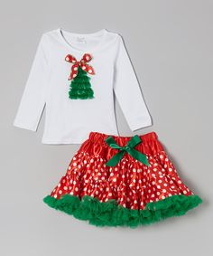 White Christmas Tree Tee & Red Pettiskirt - Infant & Toddler:: i want an adult-sized one. :3