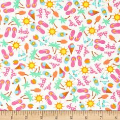 Beach Party Flip Flops & Ice Cream Multi/White from @fabricdotcom  This cotton print is perfect for quilting, apparel, and home decor accents. Colors include pink, orange, yellow, green, blue, and white.