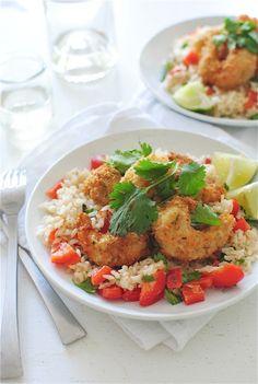 Wine-Battered Coconut Shrimp Over Brown Rice - Bev Cooks Lobster Recipes, Fish Recipes, Seafood Recipes, Crock Pot Cooking, Cooking Recipes, Healthy Recipes, What's Cooking, Cooking Light
