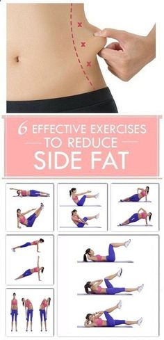 If that stubborn side fat won't seem to budge, fear not you can shrink your love handles and saddlebags with diet and exercise. While there are no exercises that specifically target the fat on your sides or anywhere else on your body, losing weight will make your side area thinner along with the rest of your figure. In addition, the right strength-training moves will add definition and make your waist, trunk and hips appear tighter. 1. Bicycle Crunches: The bicycle crunch is an excell...