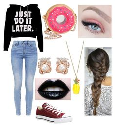 """""""Zöe Greystone from 'The Leather Jacket' before Eli's accident."""" by aaliyah-marie-garza on Polyvore featuring G-Star, Converse, Betsey Johnson and Anabela Chan"""