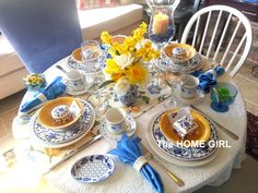 The HOME GIRL!: Ladies Prayer Breakfast Tablescape  A pretty spring table setting.