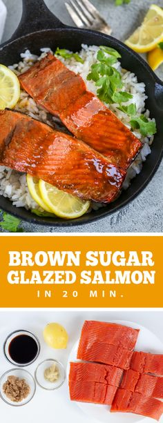 Brown sugar glazed salmon makes the most delicious and easiest dinner. This salmon is ready in under 20 minutes and is the perfect homemade date night meal. This salmon is juicy and flakey the perfect side of protein for any meal. #salmon #brownsugarsalmon #seafood