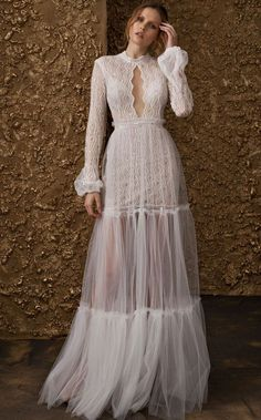 "Nurit Hen 2018 Wedding Dresses — ""Golden Touch"" Bridal Collection nurit hen 2018 bridal long sleeves high jewel neck keyhole neckline full embellishment bohemian soft a line wedding dress covered lace back sweep train mv Wedding Dress Necklines, Lace Wedding Dress, Wedding Dresses 2018, Bohemian Wedding Dresses, Boho Wedding, Bridal Dresses, Lace Dress, Trendy Wedding, Dresses Dresses"