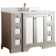 "Avanity Newport 48"" White Top French Gray Vanity ($1,838) ❤ liked on Polyvore featuring home, home improvement, plumbing, cabinets and storage e grey"