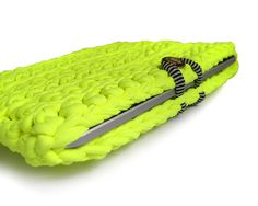 NEON Yellow lime iPad crochet case sleeve with by peanutoak, $24.99. Ooh, thick yarn for a case. That's a good idea.