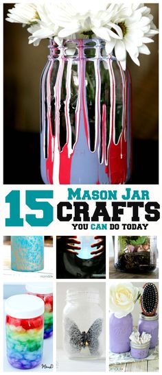 15 Mason Jar Crafts you can do today! You will love these mason jar craft tutorials, from nighlights to holiday displays Wine Bottle Crafts, Mason Jar Crafts, Mason Jar Diy, Pickle Jar Crafts, Bottle Art, Chalk Paint Mason Jars, Painted Mason Jars, Diy Home Decor Projects, Diy Projects To Try
