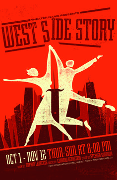 West Side Story poster by Drama Queen Graphics. Customizable with your own text! Dear Evan Hansen, William Shakespeare, Romeo And Juliet Poster, Broadway Posters, Theatre Posters, Play Poster, Gig Poster, High School Drama, Love Posters